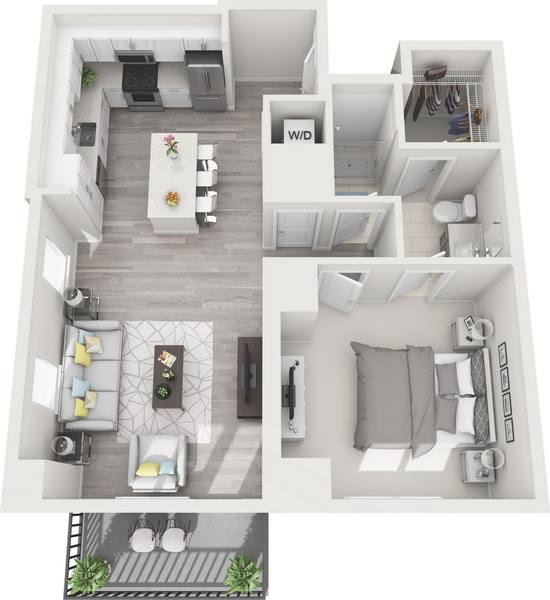 A 3D rendering of the A4A floor plan