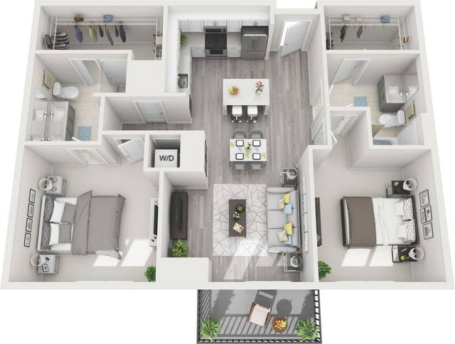 A 3D rendering of the B7A floor plan