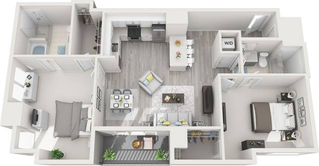 A 3D rendering of the B1 floor plan
