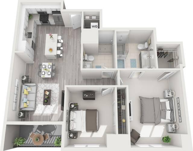 A 3D rendering of the B6 floor plan