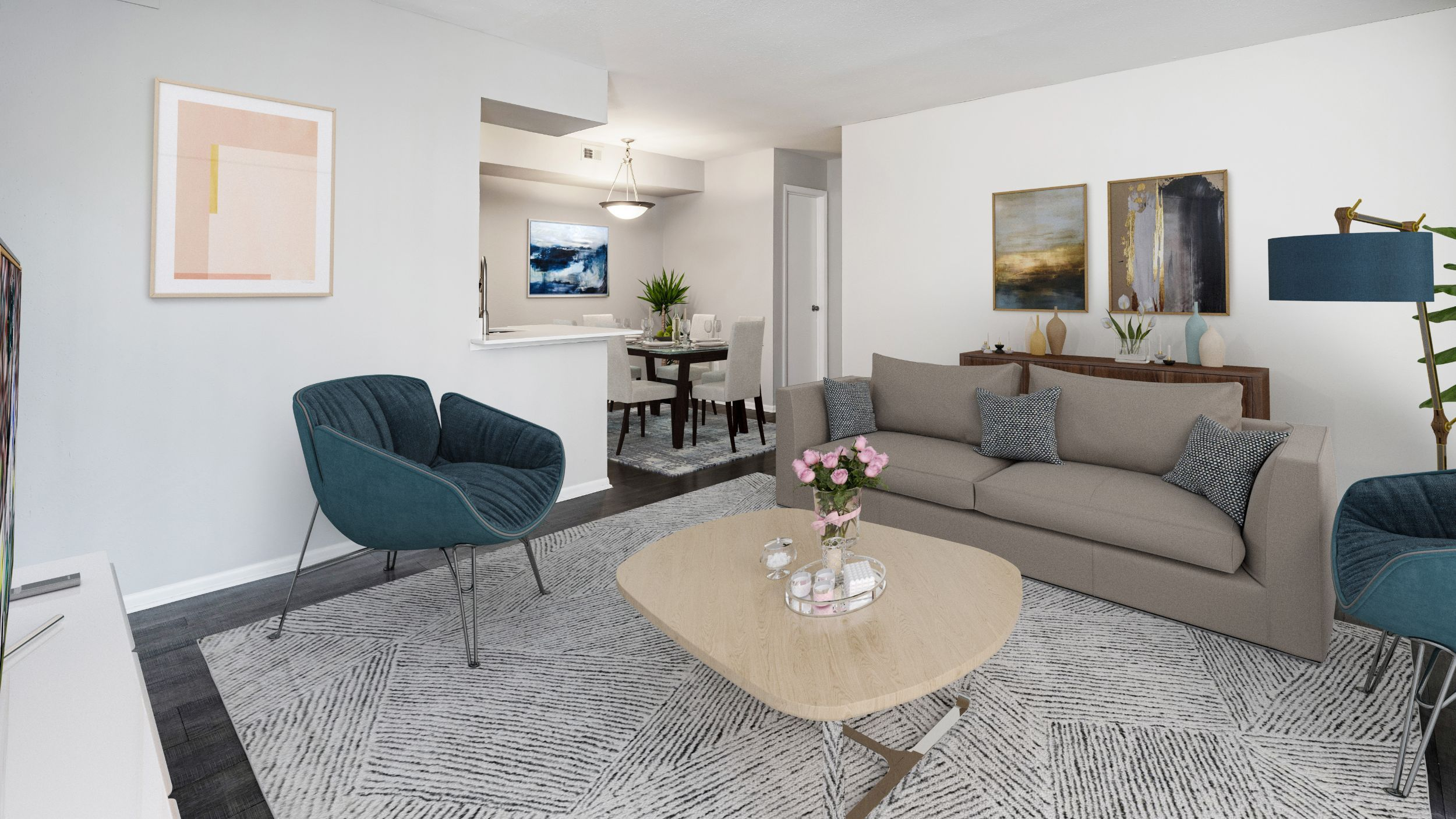 Apartment living room with seating and view of dining area