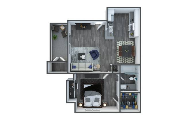 A 2D drawing of the Cypress Renovated floor plan