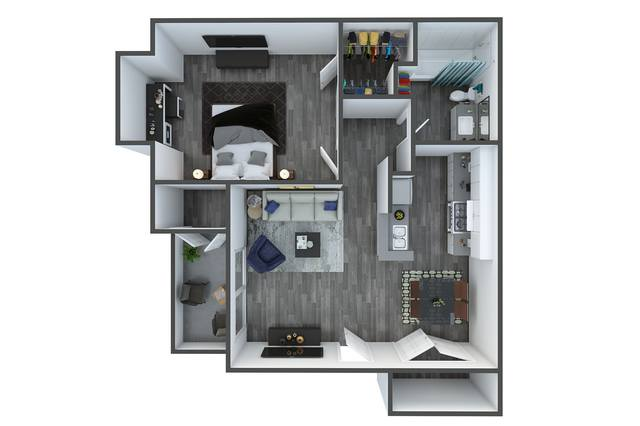 A 3D rendering of the Willow floorplan