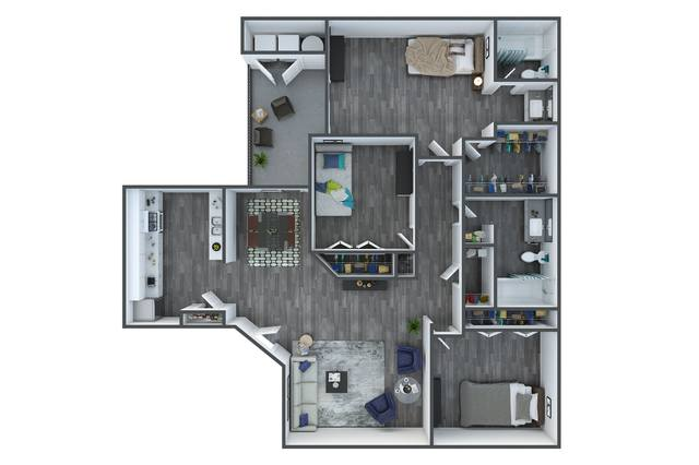 A 3D rendering of the Palm Renovated floor plan