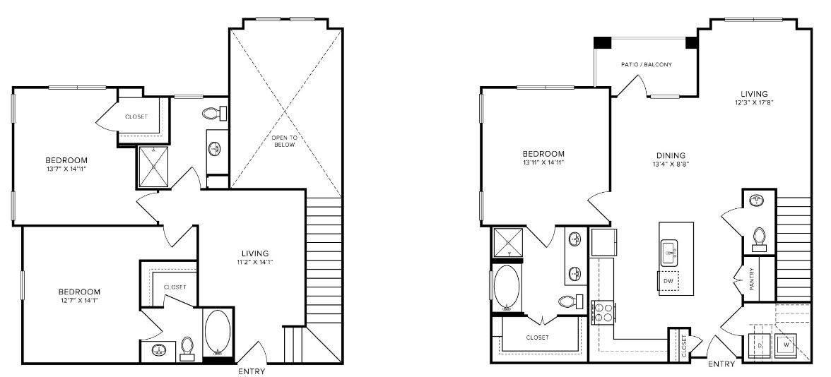 A 2D drawing of the T2 floor plan