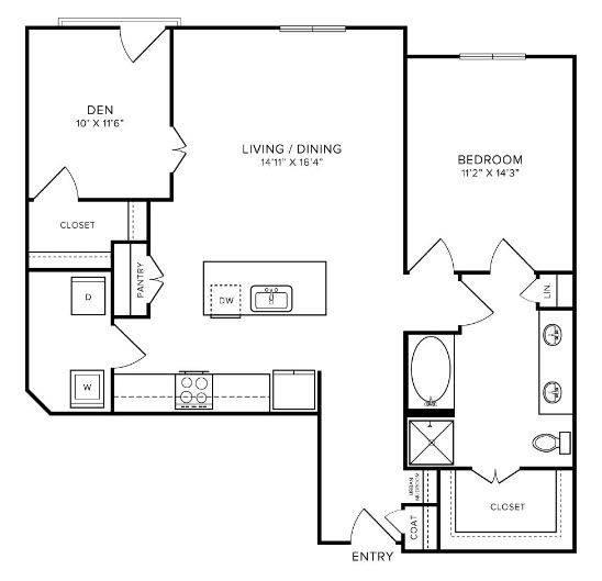 A 2D drawing of the A6 floor plan