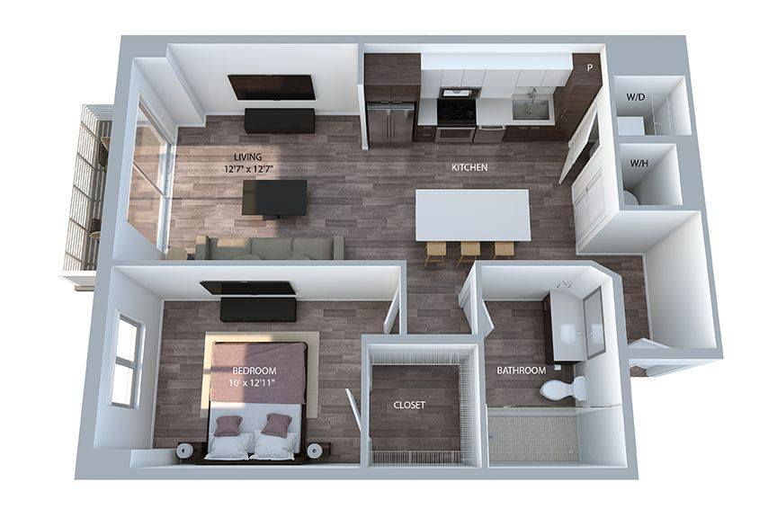 A 3D rendering of the A7 PH floor plan
