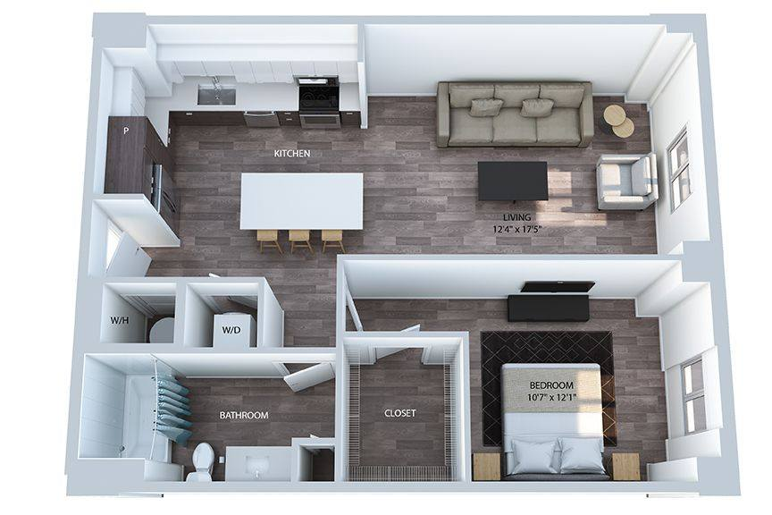 A 3D rendering of the A3.1 floor plan