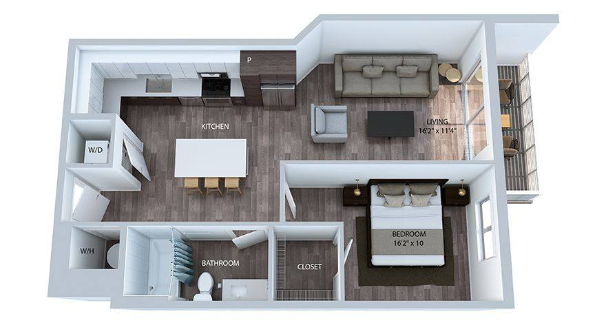 A 3D rendering of the A9 floor plan