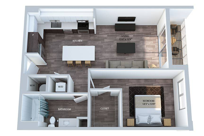 A 3D rendering of the A3.2 floor plan