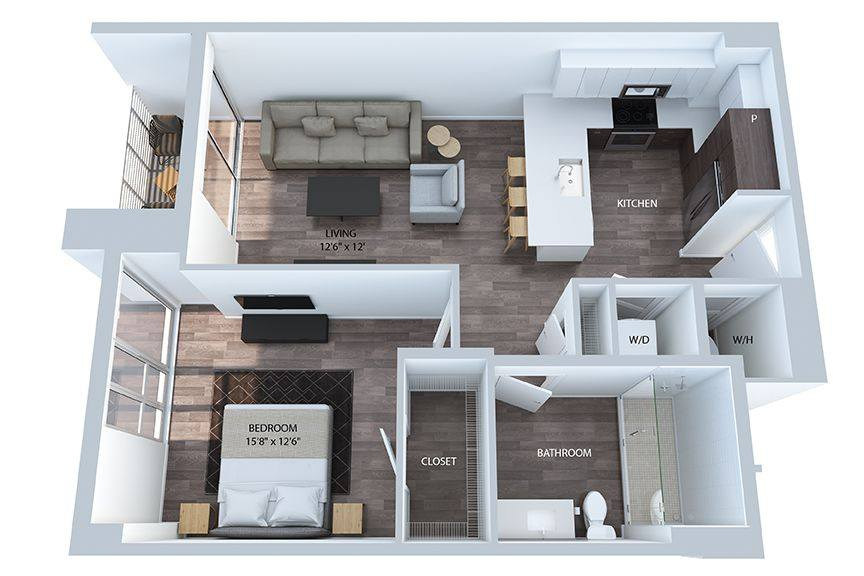 A 3D rendering of the A2 floor plan
