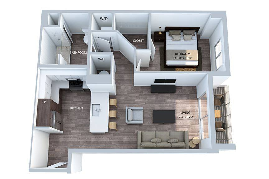 A 3D rendering of the A5 PH floor plan