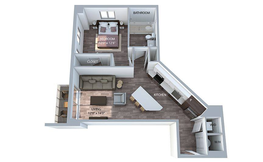 A 3D rendering of the A8 floor plan