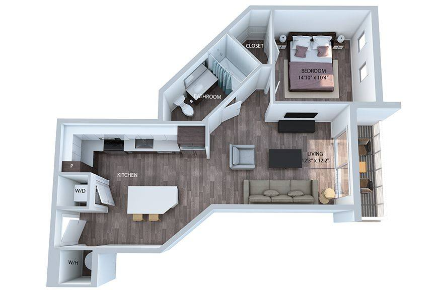 A 3D rendering of the A6 PH floor plan