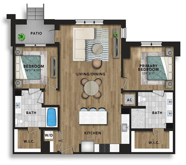 A 2D drawing of the BG2 floor plan