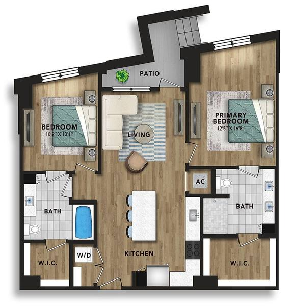A 2D drawing of the BG1 floor plan