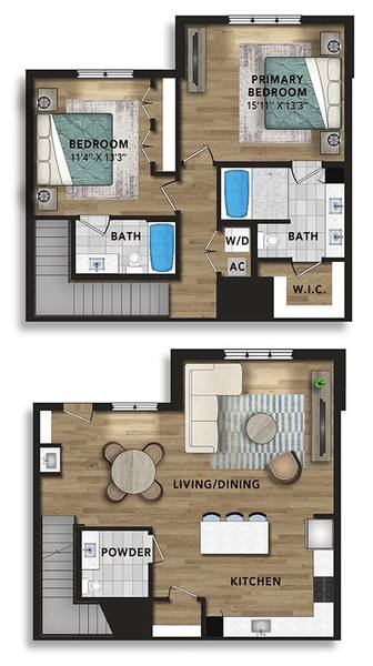 A 2D drawing of the 2-Story Penthouse B floor plan