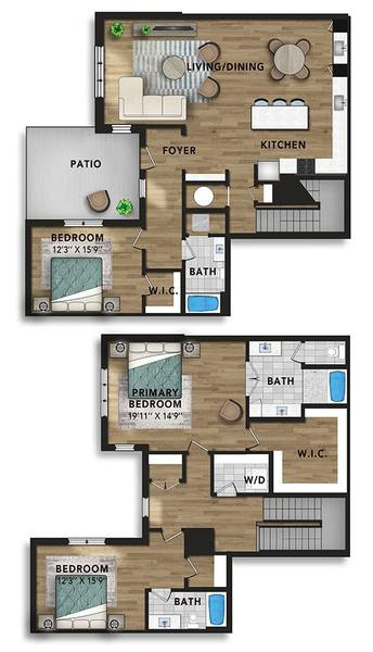 A 2D drawing of the 2-Story Penthouse C floor plan
