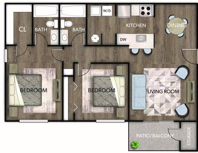 A 2D drawing of the Caterina floor plan