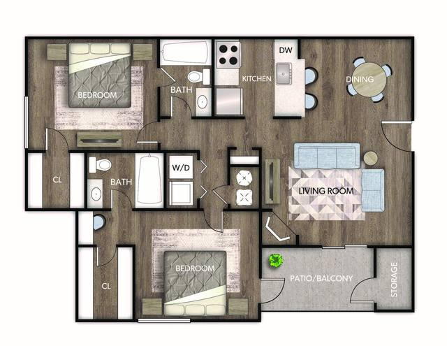 A 2D drawing of the Luciana floor plan