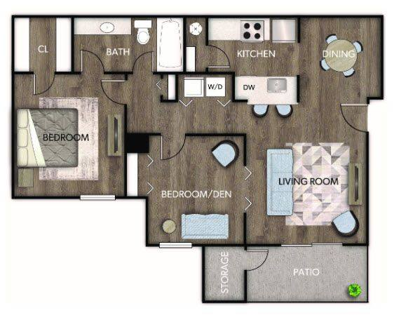 A 2D drawing of the Dahlia Renovated floor plan