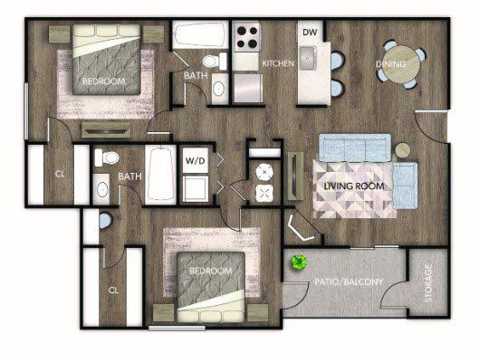 A 2D drawing of the Luciana Renovated floor plan