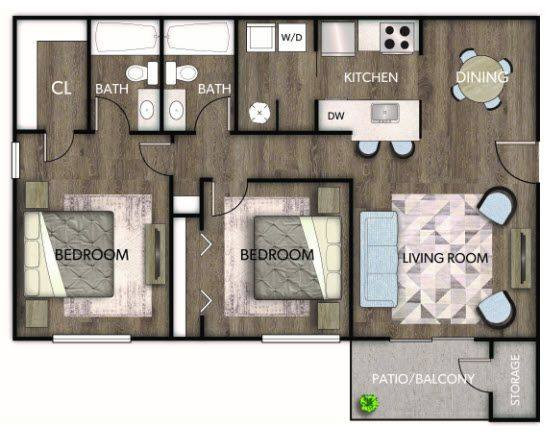 A 2D drawing of the Caterina Renovated floor plan