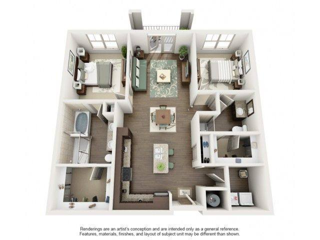 A 3D rendering of the Riviera Renovated floor plan