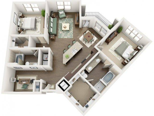 A 2D drawing of the Cascade Renovated floor plan