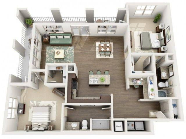 A 3D rendering of the Royal Renovated floor plan