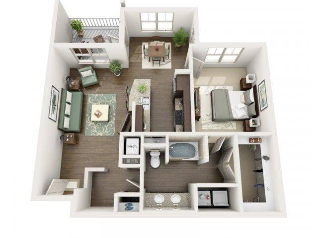 A 3D rendering of the Midnight floorplan
