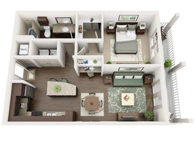 A 3D rendering of the Indigo floor plan