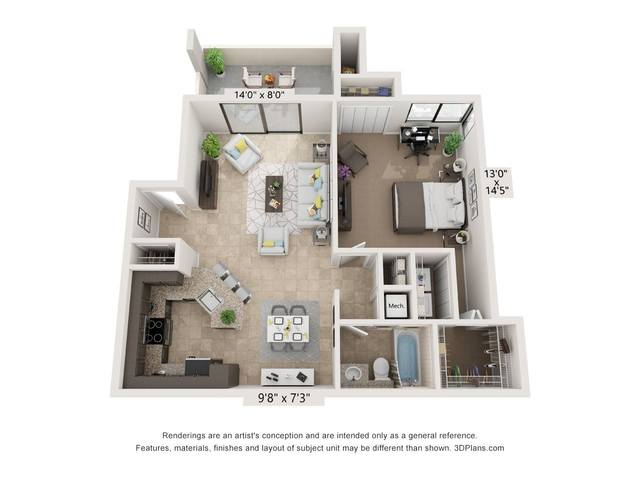 A 2D drawing of the The Aventura floor plan