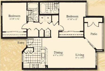 A 2D drawing of the The Vista floor plan