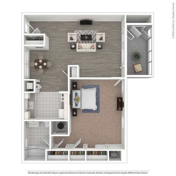 A 3D rendering of the The Palm floor plan