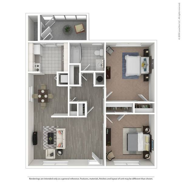 A 3D rendering of the The Cypress floor plan