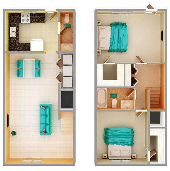 A 3D rendering of the 2 + 1.5 Townhome floor plan