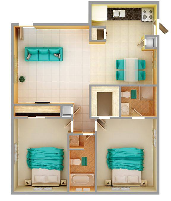 A 3D rendering of the 2 Bedroom B floor plan