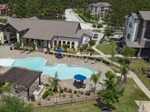 Aerial view of swimming pool and clubhouse