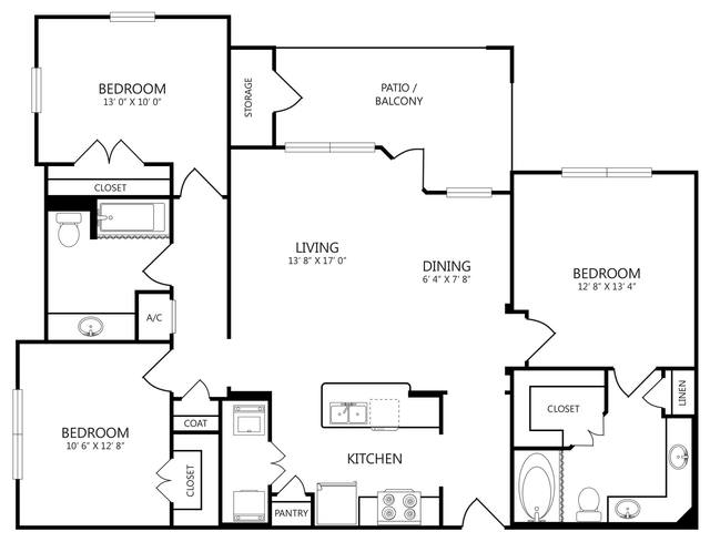 A 2D drawing of the C floor plan