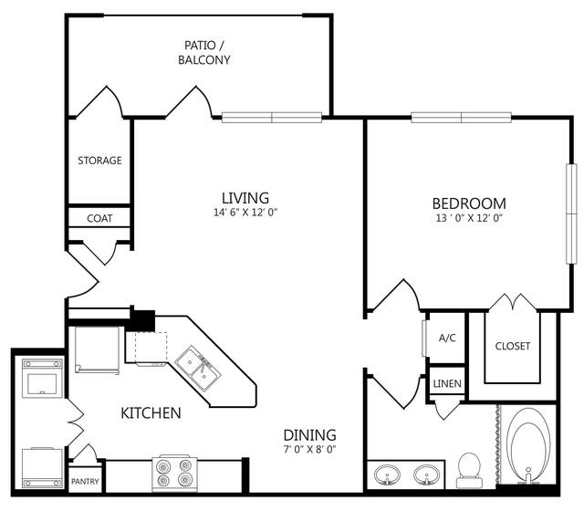A 2D drawing of the A2P floor plan