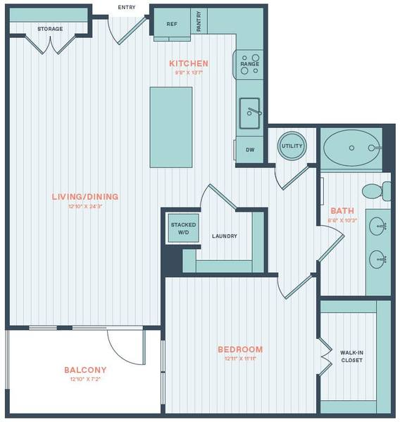 A 2D drawing of the Monstera floor plan