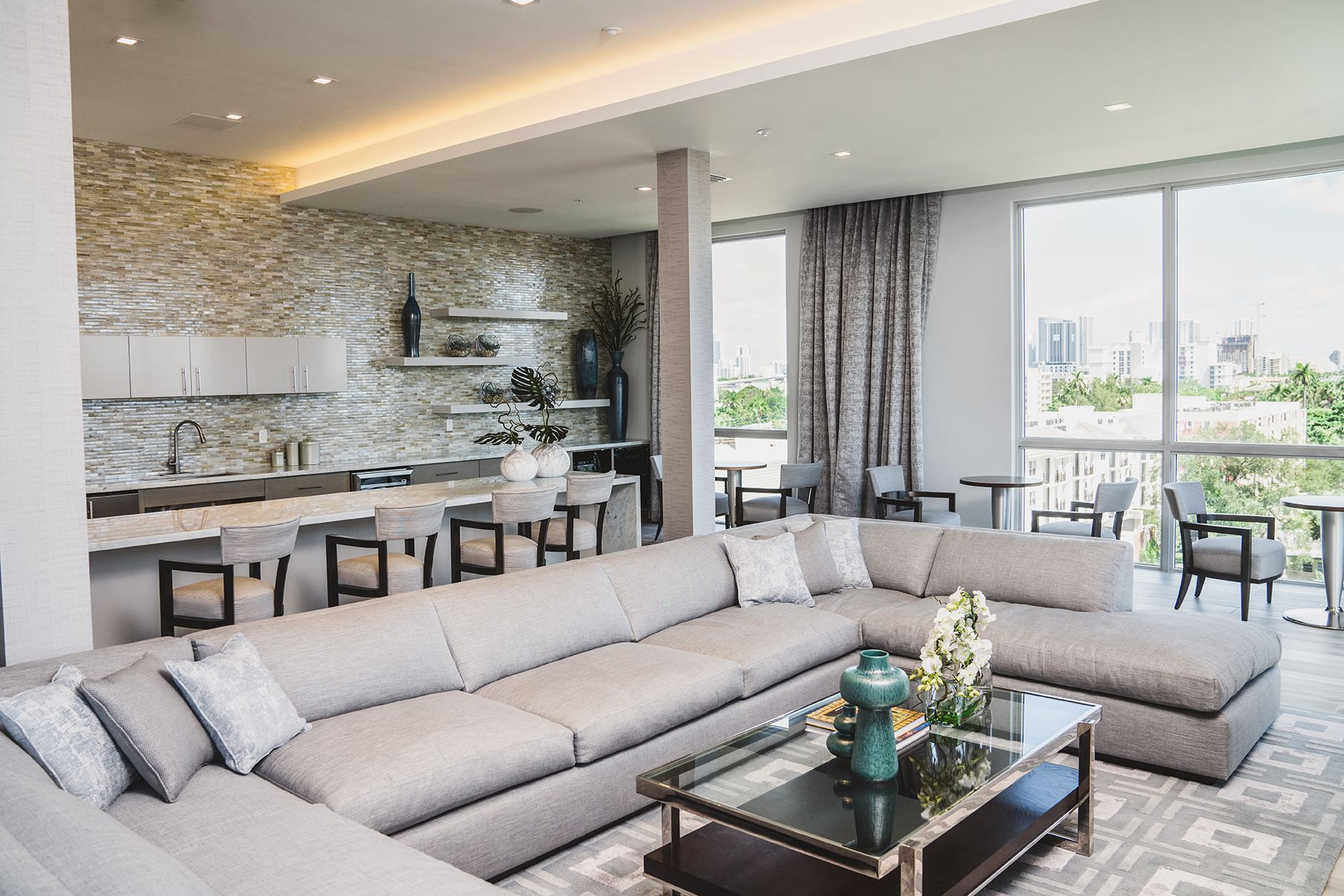 Clubhouse interior with sectional