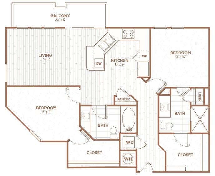 A 2D drawing of the B2Ba floor plan