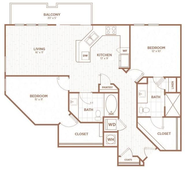 A 2D drawing of the B2B floor plan