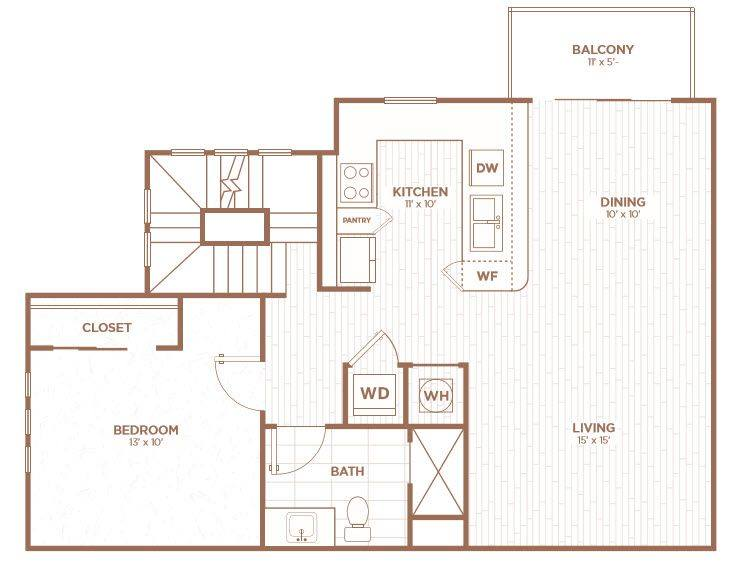 A 2D drawing of the THA1 floor plan