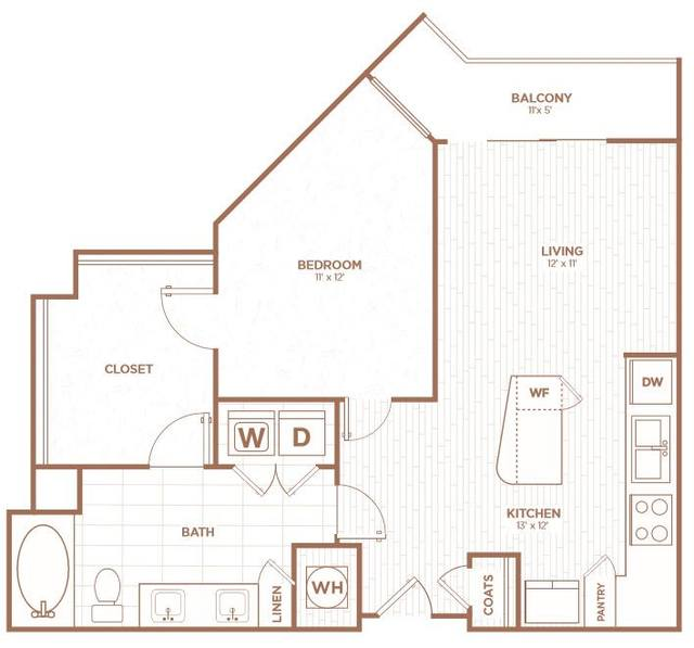 A 2D drawing of the A1K floor plan
