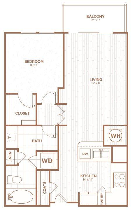 A 2D drawing of the A1E floor plan