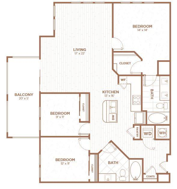 A 2D drawing of the C1A floor plan