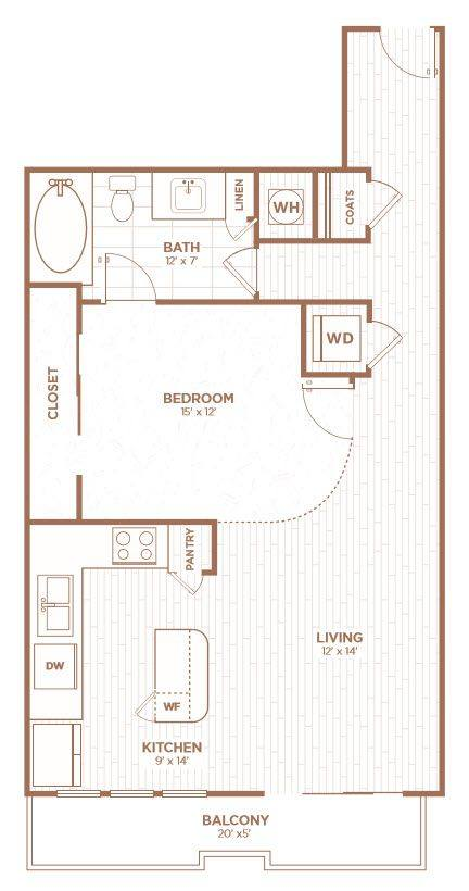 A 2D drawing of the A2H floor plan